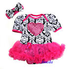 Valentine's Day Baby Damask Hot Pink Tutu Heart Bodysuit Romper Party Dress