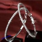 Hot Popular Clear Crystal Rhinestone Circle Round Hoop Charm Earrings 2 Colors
