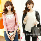 New Winter Women Applique Long Sleeve Thick Warm Velvet Slim T-Shirt White Pink