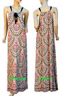 Ethnic Print Summer Kaftan Maxi Dress Orange Yellow Blue Black Brown SZ 8 10 New