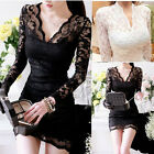 Hot Women Sexy V-neck Long Sleeve Evening Party Cocktail Slim Lace Mini Dress