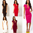 New Sexy Womens Puff Sleeve Plunge V-Neck Ladies Long Pencil Bodycon Party Dress