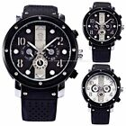 Mens 6 Hands Automatic Mechanical Date Day 2 Colors Sport Rubber Wrist Watch