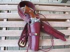 """Gun Belt w 8"""" to 10"""" Smooth Holster Combo -.38 Cal - Wine - Leather - 32"""" to 52"""""""