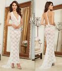 Sexy Lingerie White Bridal Wedding Chemise Lace Open Back Fishtail Long Gown Set