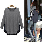 New Autumn Women O-Neck Contrast Elastic Slouchy Loose Casual T Shirt Blouse Top