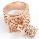 Rose silver gold GP CZ Locks charms hollow out swarovski crystal wide ring z596