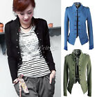 Fashiion Womens Stand-up Collar Double Breasted Short Jacket Outwear Coat