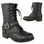 WOMENS LADIES ARMY MILITARY FLAT ANKLE GRIP SOLE LACE UP COMBAT BIKER BOOTS SIZE