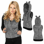Urban Classics™ Damen Melange Teddy  Weste Zipper Öhrchen Fleece Jacke Ladies