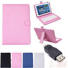 "Universal 10"" Tablet Keyboard Case Stand Leather Folio Cover + Micro USB Adapter"