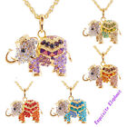 Fashion Womens elephant long necklace chain Rhinestone Plating gold Party Y31477