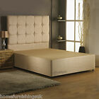 HF4YOU SUEDE DIVAN BASE + MATCHING HEADBOARD - 2FT6/3FT/3FT6/4FT6/5FT/6FT
