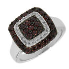 1.00 Ct Stunning Round Black Spinel and White CZ 925 Sterling Silver Ring
