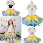 Pink Polka Dots Rainbow Pettiskirt Easter Bunny Minnie Mouse Chick Party Dress