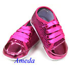 Baby Girls Hot Pink Glitter Bling Crib Shoes Sneaker Booties Shimmer Party 0-18M