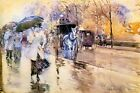 RAINY DAY ON FIFTY AVENUE NEW YORK 1893 CARRIAGE PAINTING BY CHILDE HASSAM REPRO