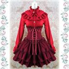 L46 women adjustable velvet skirt gothic Lolita punk retro tiered layered navy