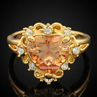 New Yellow Gold GP Champagne Crystal Heart Solitaire Stone Cocktail Ring XR018C