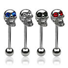 Surgical Steel Skull Tongue Bar / Barbell Piercing with Gemmed Eyes