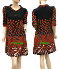 3/4 Sleeve Knit Shift Dress Black Orange Spot Stripe Print SZ 10 12 14 16 18 New