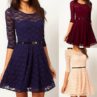 Womens Sexy Spoon Neck Slim 3/4 Sleeve Cocktail Lace Skater Dress UK Size 8-16