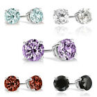 Sterling Silver 2ct Gemstone 6mm Stud Earrings - 5 Colors