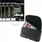 Belt Leather Case Cover + 6x Screen Protector Film FOR HTC Mobile Cell Phones UK