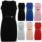 AC64 Ladies Crew Neck Sleeveless Gold Buckle Belted Bodycon Party Dress