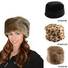 New Fashion Ladies Faux Fur Russian Pillbox Hat Womens Warm Winter Cap