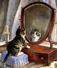 FAIREST OF THEM ALL KITTY CAT LOOKING AT MIRROR PAINTING BY FRANK PATON REPRO