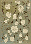 Transitional Blue Green Floral Leaves Area Rug Casual Vines Branches Carpet