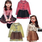 Girls Kids Dress Long Sleeve Age2-7Y Party Clothes Outwear Polka Dot Tulle Skirt