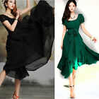Womens VINTAGE Pleated Maxi Chic Prom Party Evening Chiffon Summer Long Dress UK