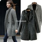 Women Lapel Collar Wool Long Winter Parka Coat Trench Outwear Jacket 2 Types C99