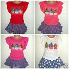 APPLE T-SHIRT TOP SPOTTY RA RA SKIRT OUTFIT GIRLS 2-3-4-5-6 YEARS 18-24 MONTHS