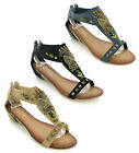 NEW WOMENS SMALL WEDGE ZIP GLADIATOR OPEN TOE SANDALS SIZE 3-8 UK