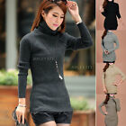 Womens Ladies Turtleneck Turtle Polo Neck Collar Knit Jumper Top Sweater