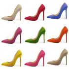 Girls Ladies Womens High Heels Pumps Court Shoes Suede 100% Real Genuine Leather