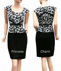 Womans Cocktail Formal Pencil Dress Black White Lace Knit Size 8 10 12 14 16 New