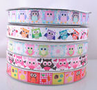 5/20Y Upick Mix Color Printed Owl Grosgrain Ribbon Craft Wedding 22mm RG069