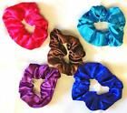 Turquoise Brown Pink Blue & Purple Satin Hair Scrunchies Band Dancing Gymnastics
