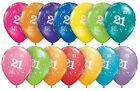 """21st Birthday Party Balloons Age 21 helium Quality Pack Of 6 Qualatex 11"""""""