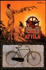 CICLI ATTILA ATHLETES WINGS BICYCLE BIKE CYCLE SPORT ITALY VINTAGE POSTER REPRO
