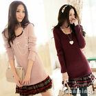 Pinup Women Long Sleeve Contrast Splicing Slim Cotton Party Casual Mini Dress S