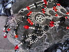 Red & black glass earrings necklace SET pentacle spider black rose flower cross