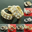 NEW 18K FILLED LAYERED YELLOW WHITE ROSE GOLD CZ HUGGIE STUD HOOP DROP EARRINGS
