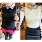New Korean Ladies Long Sleeve Lace Floral Crochet Casual Slim Tops Blouse Shirt