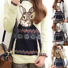 Ladies Womens Casual Sweater Animal Rabbit Print Knitted Tops Jumper Pullover