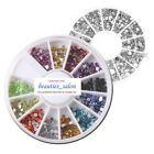 4 Sizes 12 Colors/Silver Nail Art Gem Rhinestone Round Diamante Stud Decoration